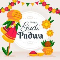 Gudi Padwa Celebration Greeting Card vector