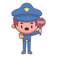 policeman cartoon doodle hand drawn concept vector kawaii illustration