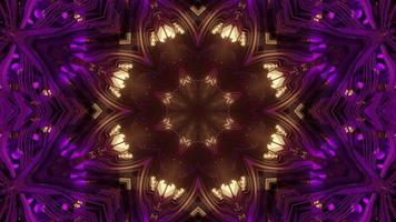 3d Illustration of Kaleidoscopic Tunnel in Yellow and Pink Colors video