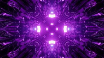 Illustration 3 d d'un motif lumineux violet symétrique en mouvement video