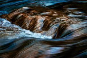 Blurred cascades on the autumn river