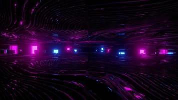 Illustration 3 d du couloir avec néons brillants video