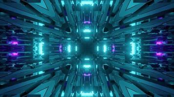 ilustração 3d abstrata do corredor geométrico azul video