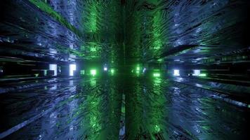 Ilustración 3d del estrecho túnel luminoso formado por paredes onduladas video