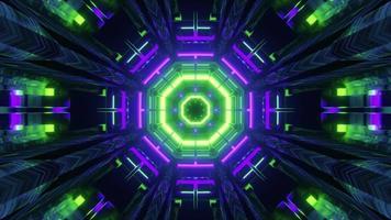 Ilustração 3D do túnel em movimento com luzes brilhantes