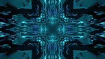 ilustração 3d geométrica de padrões em forma de padrão em forma de estrela azul em movimento video
