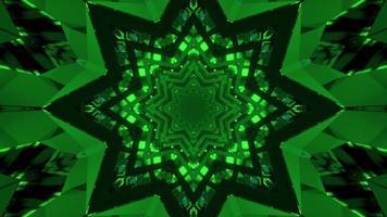 hipnotizante ilustração 3D de padrões em forma de estrela verde em movimento video