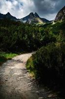 Walkway near dark mountains photo