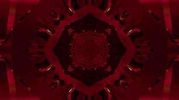 ilustração 3d abstrata de corredor oval vermelho video