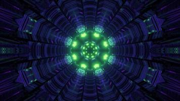 Ilustración 3d de túnel en movimiento con adornos brillantes