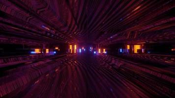 Illustration 3D du tunnel en mouvement avec des lumières colorées video