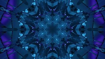 hipnotizando ilustração 3D de padrões em forma de estrela azul em movimento video