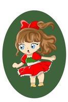 Little girl in Christmas skirt and red ribbon vector