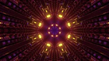 Ilustración 3d de túnel en movimiento con adornos creativos