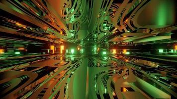 Ilustración 3d abstracto de brillantes paredes móviles y luces distantes video