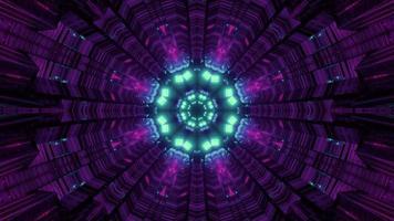 Ilustração 3D do movimento no túnel com luzes de néon video