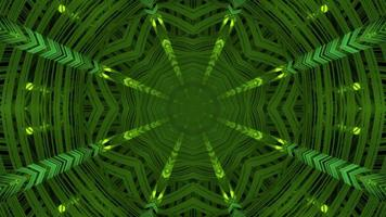 3d Illustration of Green Symmetric Pattern Moving in Darkness video