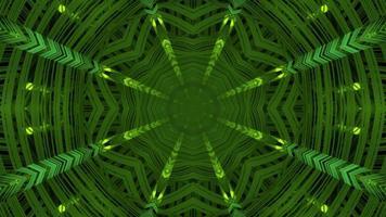 Ilustração 3D do padrão simétrico verde movendo-se na escuridão