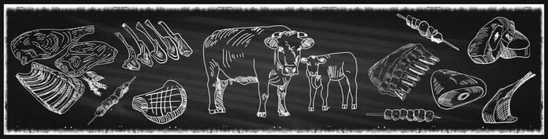 Butcher shop blackboard banner with cows and meat vector