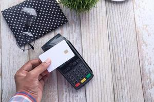 Contactless payment with credit card photo