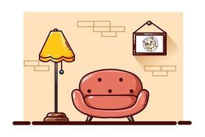 Sofa and lamp illustration vector