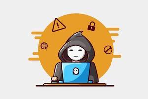 Ilustración de un dibujo a mano hacker vector