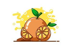dibujo a mano ilustración naranja vector