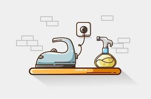Ilustración de vector de ambientador de ropa y plancha