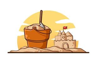 Buckets and sand kingdoms in summer vector