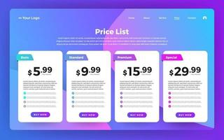 UI User Interface Price List vector