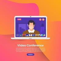 reunión de videoconferencia vector
