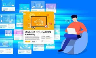 educación en línea. curso de e-learning estudiar desde casa vector