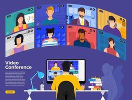 equipo haciendo videoconferencia en línea. vector