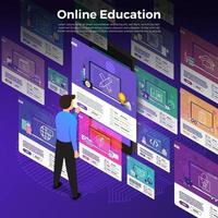Online education. E-learning course study from home vector