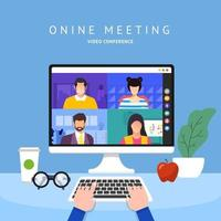 Team Doing Online Video Conference vector