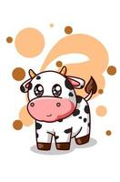 A little cute baby cow illustration vector