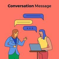 personas que tienen una conversación con burbujas de cuadro de chat vector