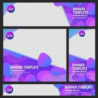 Set of standard web banners with colorful abstract geometric designs vector