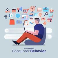 iconos de análisis del comportamiento del consumidor vector