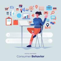Consumer behavior analysis icons vector