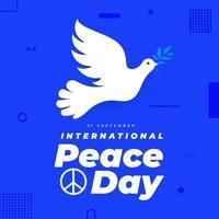 21 September, international peace day poster vector