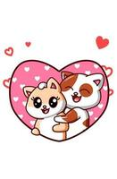 Kawaii couple of cats fall in love in valentine's cartoon illustration vector