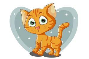 A little cute orange cat with green eyes, design animal cartoon vector illustration