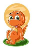 A orange dinosaur is sitting design animal cartoon vector illustration