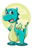 A little cute big green dragon animal cartoon illustration vector