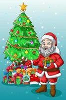 A Illustration of Santa Claus bringing one gift with tree vector