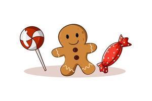 Ilustración del tema navideño de dulces y galletas vector