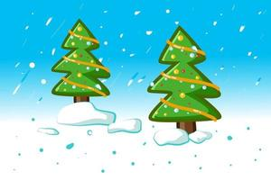Two small spruce Christmas trees in the winter vector