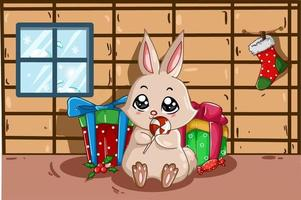 The rabbit brings sweets and lots of presents in his house in the Christmas season vector