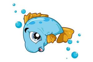 Illustration of small blue fish vector